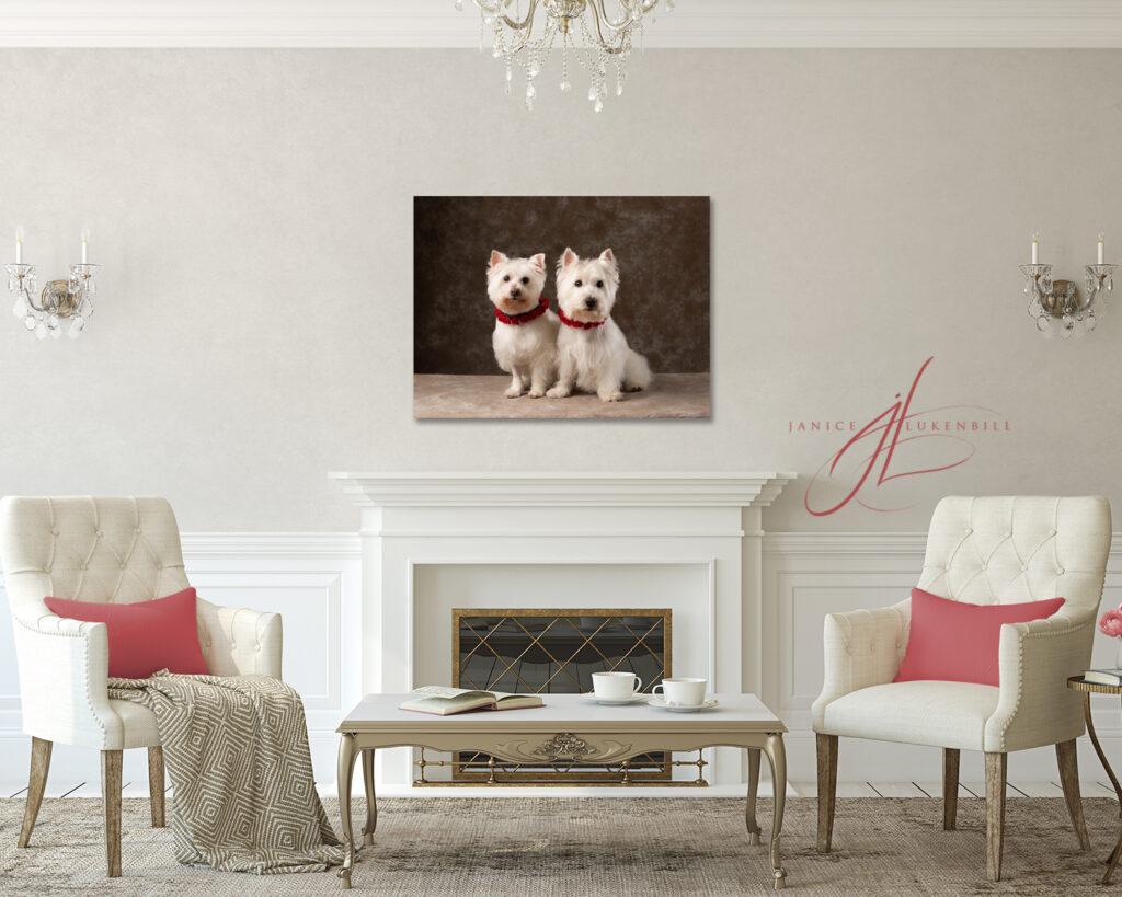Fireplace with Westie Portrait